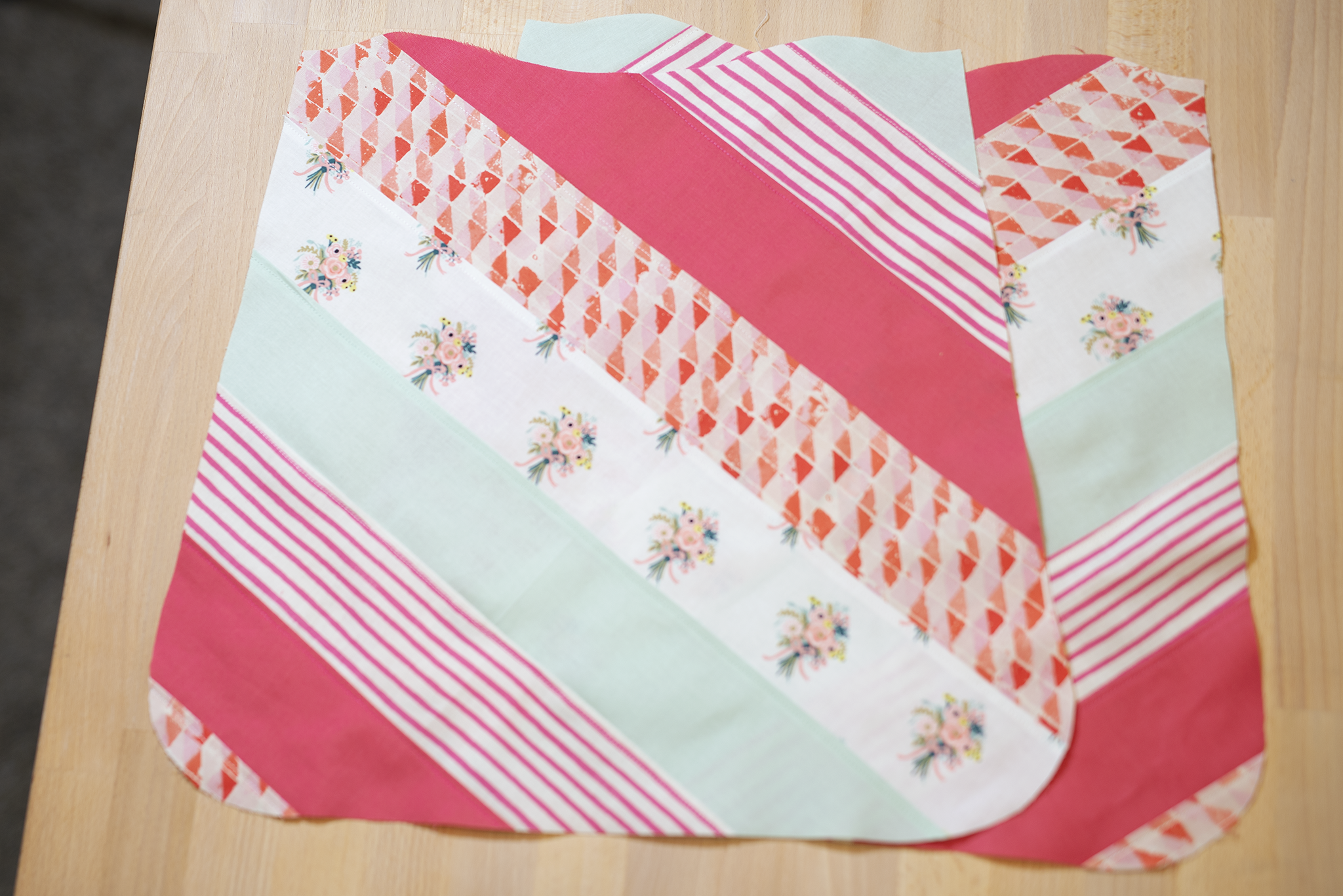 fabrics sewn together in squares