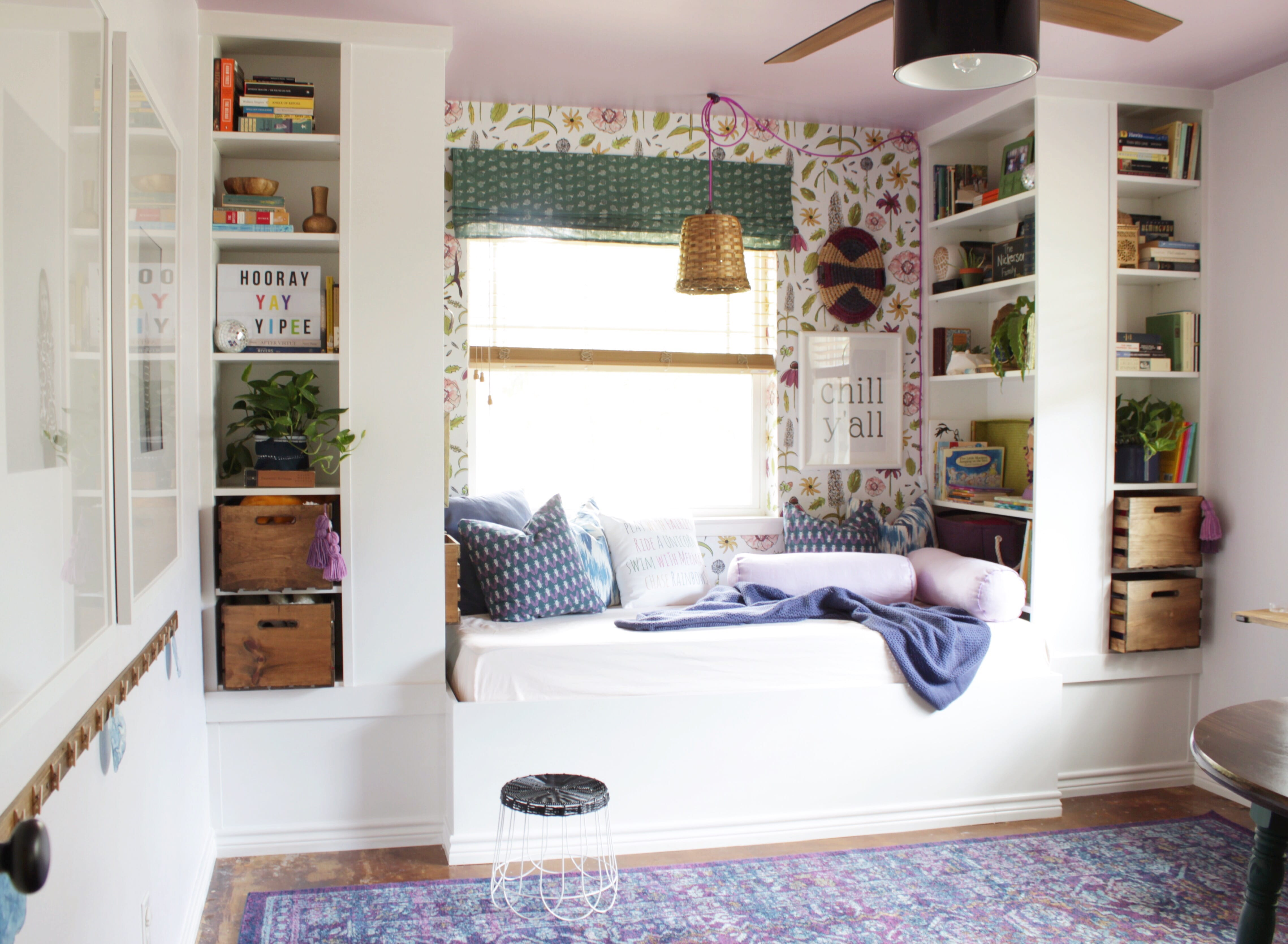 Easy ways to create a cozy fun reading nook transform for Space themed book corner