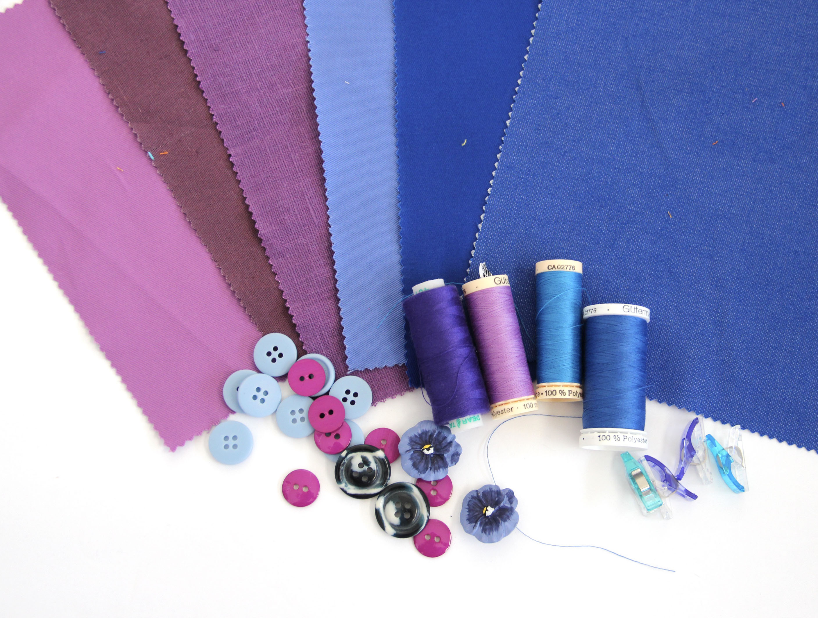 violet and blue fabrics