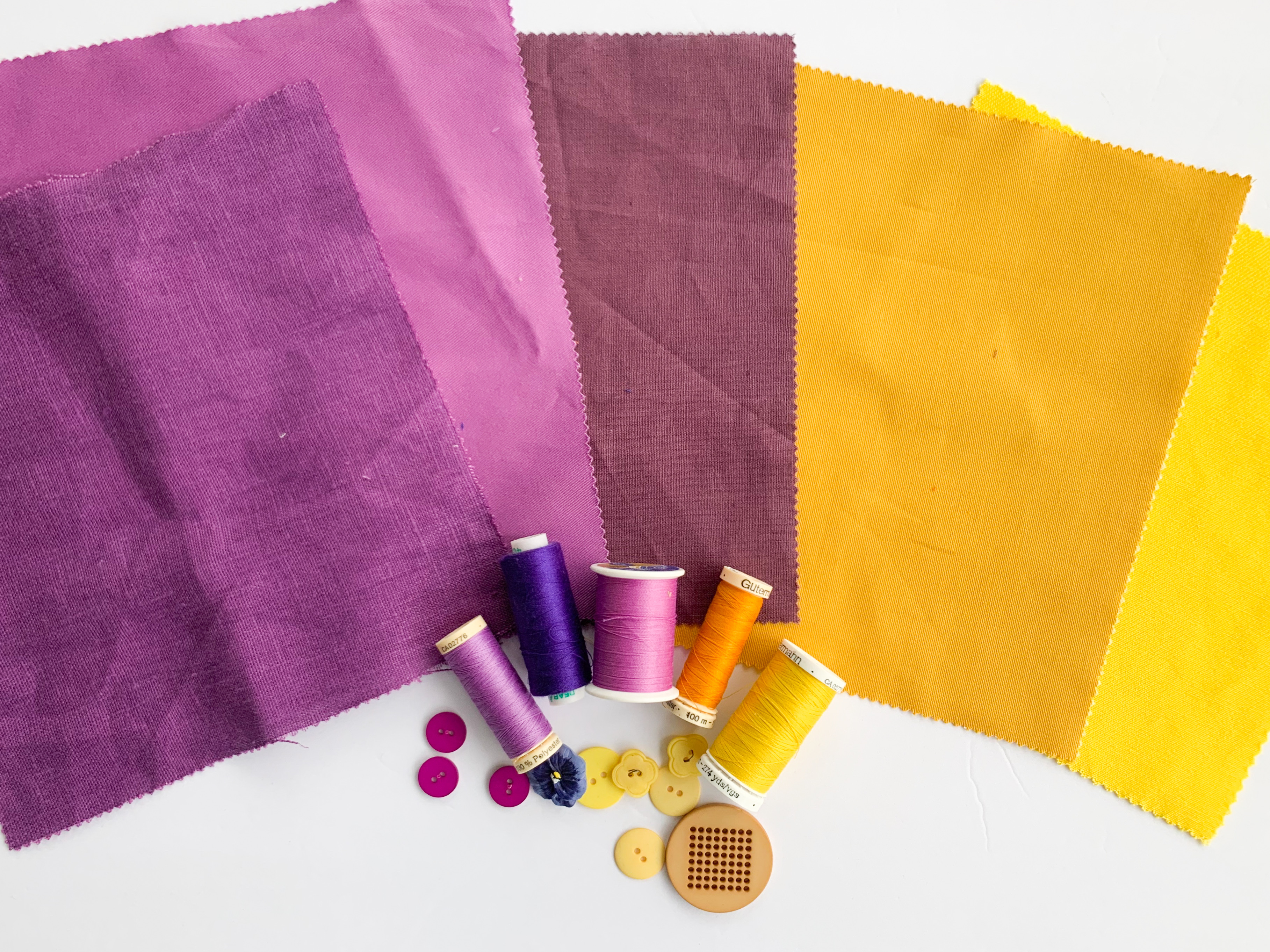 yellow and violet fabrics