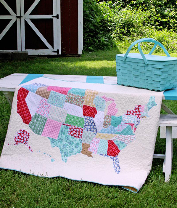 Map quilt tutorial discount designer fabric fabric this us map quilt is perfect to take along on a road trip its covered with a fun map of the us all appliqued in scrappy colorful prints gumiabroncs Gallery